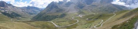 Montée : Col du Galibier depuis Col du Lautaret, Commentaire : Un panoramique de la fin du lautaret et du début du galibier