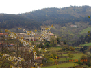 Montée : Col de Brun depuis Labatie d'Andaure, Commentaire : Le Village médiéval de Labatie-d'Andaure dans les gorges du Doux. Le pied du col à 520m d'altitude.