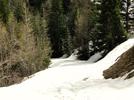 Montée : Lac d'Allos depuis Allos, Commentaire : Fin de la route pour cause de neige au parking de la Champ en ce début de mois d'avril 2014.....C'est juste avant la petite redescente en milieu de col.