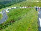 Montée : Station d'Hautacam depuis Argeles Gazost, Commentaire : Les camping-cars attendent le Tour 2014 (dans 4 jours)